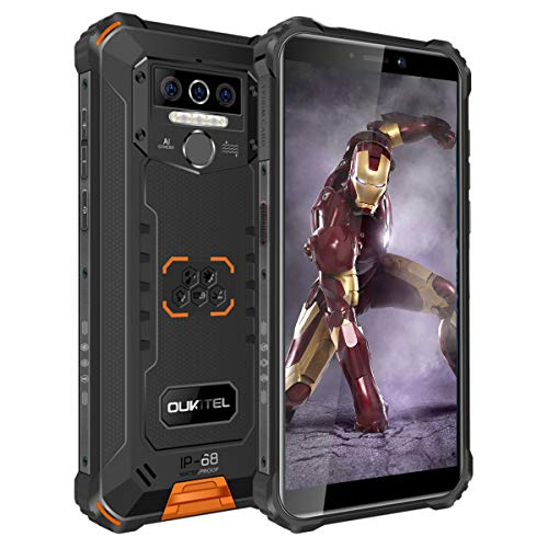 OUKITEL WP5 Pro Android 10,4G Dual-SIM IP68 wasserdicht, entsperrte Handys, 8000 mAh Akku (lange Standby-Zeit 600 St&en), 5,5 Zoll, 4 GB, 64 GB, Dreifach-Kamera-Gesicht/Fingerabdruck-ID, GPS, Orange