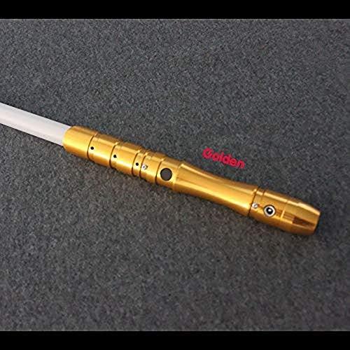 gengyouyuan Boman LED Lichtschwert Force FX Lichtschwert mit lautem Klang und High Light, Metall Hilt, wiederaufladbare Licht, Geschenk für Kinder und Erwachsene (Golden Handle, Purple)