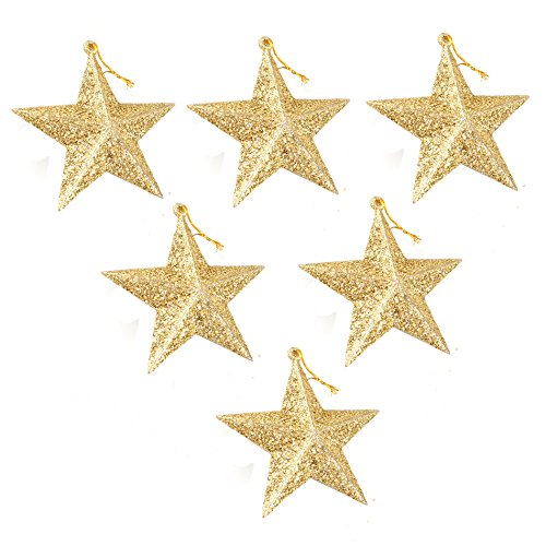 6-Pack of Christmas Tree Decorations - Star Hanging Ornaments Gold Glitter Stars Festive Embellishments, Gold 3.5 Inches