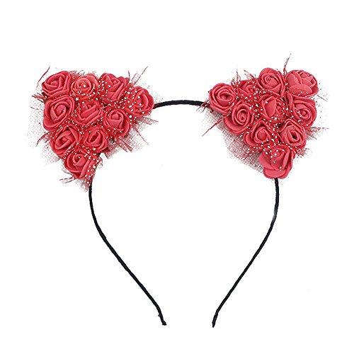 Cosanter 1 Pièce Oreilles de Chat Serre-tête Mignon Bandeau Cheveux Romantique Fleurs Hair Hoop pour Femme Filles