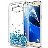 LeYi Coque Galaxy J5 2016 Etui avec Film de Protection écran, Fille Personnalisé Liquide Paillette Transparente 3D Silicone Gel TPU Antichoc Kawaii Housse pour Samsung Galaxy J5 2016 Blue