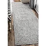 nuLOOM Lefebvre Braided Indoor/Outdoor Runner Rug, 2' 6' x 6', Light Grey