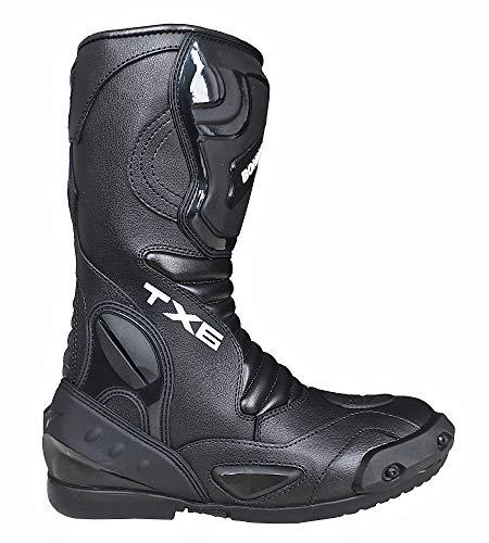 Herren Motorradstiefel Racing Sportstiefel, Wasserabweisend aus schwarzem Leder mit aufgesetzten Hartschalenprotektoren,Schwarz-Gr.44