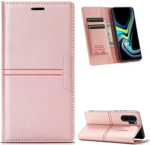 Hancda Funda para Huawei P30 Pro [no para P30], funda de piel con tapa estilo libro, estilo clásico, con tarjetero para Huawei P30 Pro, color oro rosa