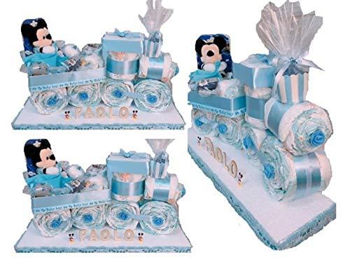 Torta di Pannolini pampers rosa azzurro trenino nascita battesimo bomboniere (Azzurro)