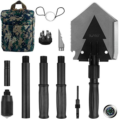 iunio Portable Folding Shovel, 38 inch Length, with Pickax, Carrying Bag, Multitool Spade, for...