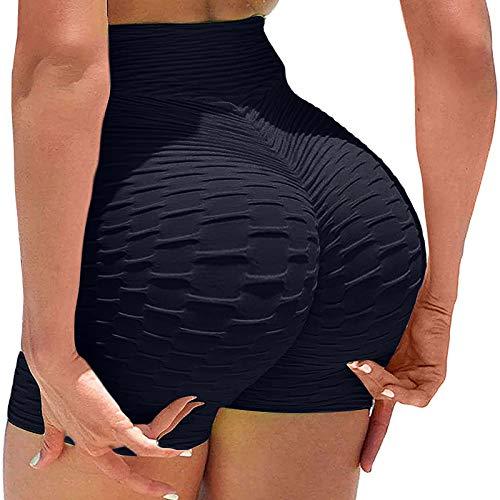 BURIC 12PC Running Shorts Yoga Pants Leggings High Waist Butt Lifting Sport Shorts Women Honeycomb Textured Ruched Gym Sexy Shorts
