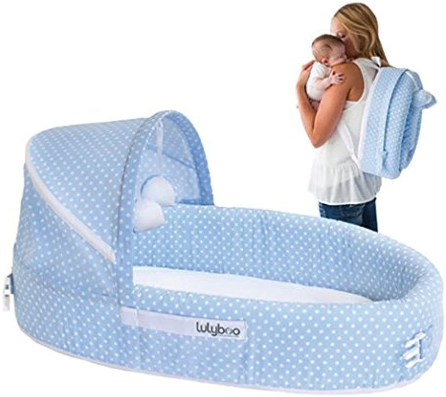 LulyBoo Baby Lounger To Go - Foldable Travel Bassinet - With Canopy, Toy-Bar And Plush Toys (bluee)