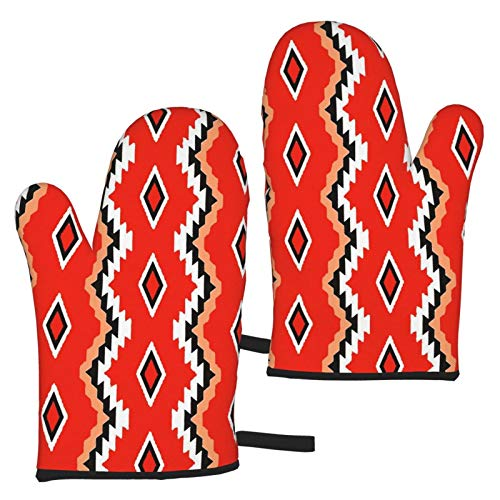 Ye Hua Native American Pattern Oven Gloves Microwave Gloves Heat Resistant Combination, BBQ, Grilling