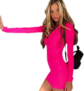 C.C-US Women Neon Long Sleeve Bodycon Mini Dress High Neck Slim Fit Party Dress with Thumb Hole
