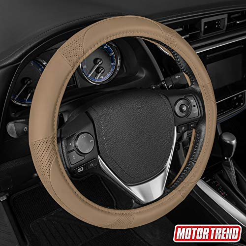 Motor Trend SW-809-BG Beige Classic Stitch Perforated Simulated Leather Steering Wheel Cover, All Beige