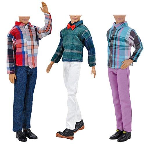 Kleidung für Barbie,Beetest 3 Sätze Mode Freizeitkleidung Puppe Kleidung Jacke Hosen Outfits Zubehör für Männer Junge Ken Barbie Puppen Kinder Geburtstag Weihnachtsgeschenk