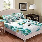 Juego de sábanas de león de mar de dibujos animados, juego de cama de tamaño King azul claro, bonito pescado blanco sábanas para niños ropa de cama decoración de habitación 3 piezas ropa de cama