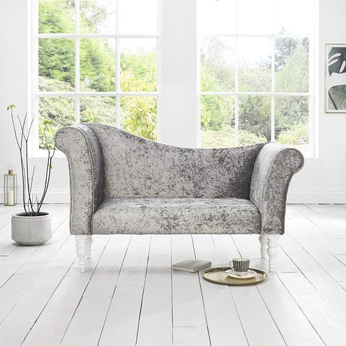 Chaise Longue/Slipper Sofa in Silver Crushed Velvet Fabric with designer Legs