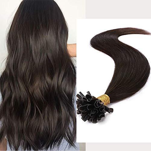 Extension Capelli Veri Cheratina Marrone 100g 45cm U Tip 100% Remy Human Hair Pre Bonded Keratina Invisibile Naturale, 200 Ciocche #2 Marrone Scuro