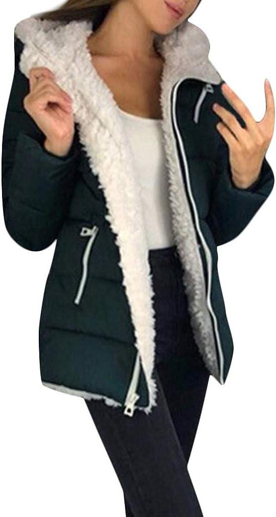 Womens Winter Warm Coat Hooded Parkas Overcoat Fleece Outwear Jacket with Drawstring Full Zip Hooded Sweatshirt