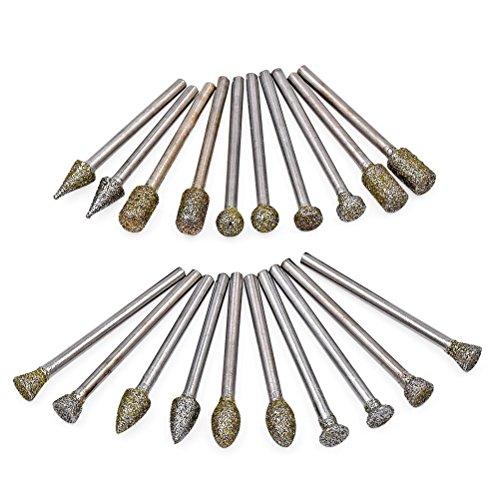 Diamant-Frässtifte Bohrer Bits Sets-Schleifstift Kit 20Stück mit 1/20,3cm (3mm) Schaft passt Rotary Werkzeug für Heimwerker Schleifen, Polieren, abrasiving