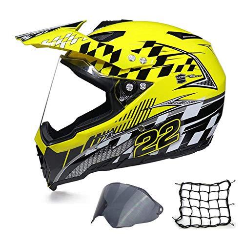 Casco de motocross de cara completa, casco de motocicleta para adulto, con...