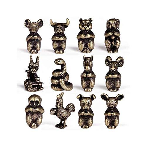 12 Adornos del Zodiaco Incienso Mini Lindo Incienso Quemador Antiguo Cobre pequeño Animal Incienso para el hogar u Oficina (Color : 1)