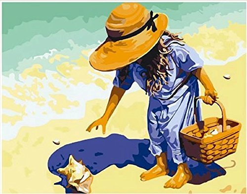 Dorara DIY Oil Painting Paint By Number Hand Paintworks 16×20 Inches Girl Picking Up Seashell On the Beach