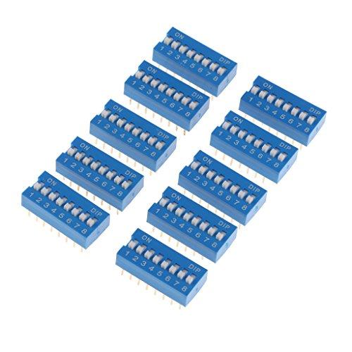 Shiwaki 10 Piezas De Doble Fila Azul, 16 Pines, 8 Posiciones, Interruptor Dip De Paso De 2,54 Mm