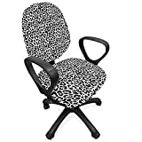 Lunarable Animal Print Office Chair Slipcover, Contrast Animal Fur Pattern Cheetah Camouflage Wild Cat Panther, Protective Stretch Decorative Fabric Cover, Standard Size, Grey Charcoal