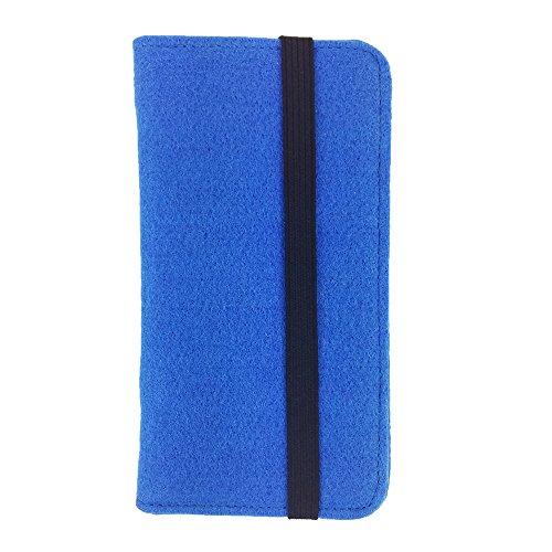 handy-point Universell Organizer für Smartphone Tasche aus Filz Filztasche Filzhülle Hülle Schutzhülle mit Kartenfach für Samsung, iPhone, Huawei (5,6-6,4 Zoll max 18 x 9,3 m, Blau hell)