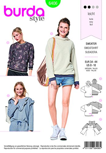 Burda 6406 Schnittmuster Sweater, Hoody & Shirt (Damen, Gr. 34-44) Level 2 leicht