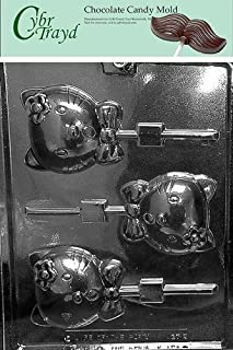 Cybrtrayd Life of the Party K127 Kitty Kat Pop Lolly Chocolate Candy Mold in Sealed Protective Poly Bag Imprinted with Copyrighted Cybrtrayd Molding Instructions