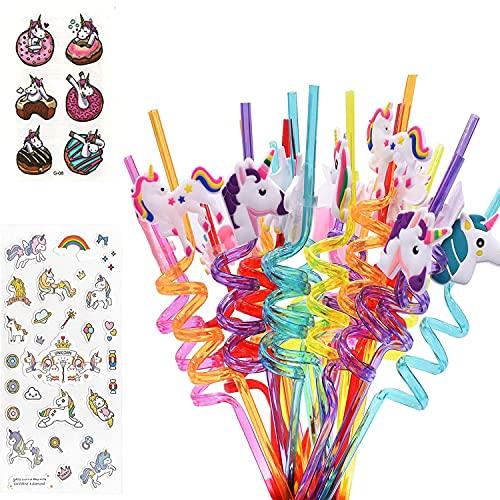 Melodip Cannucce a spirale con unicorno, per latte, succhi di succhi, cocktail, drinking Straws a spirale per latte, juice, cocktail, feste a tema unicorno, feste per bambini, confezione da 30