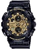 Men's Casio G-shock Analog-Digital Gold Dial Black Resin Strap Watch GA140GB-1A1