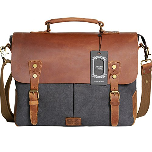 Vintage canvas real leather messenger Satchel bag for men
