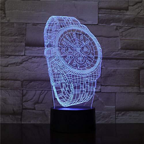 3D Ilusión Luz de Noche Forma abstracta del reloj de pulsera Lámpara USB 7 colores Cambiando LED decoración regalo niños XIAOMAIBU-Sin control remoto