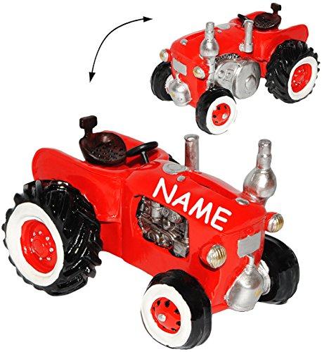 alles-meine.de GmbH Spardose -  Traktor / Oldtimer - ROT  - incl. Name - stabile Sparbüchse aus Kunstharz / Polyresin - Sparschwein - Traktoren - lustig witzig - Nostalgie / Ba..
