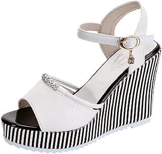 41f5d0eadce15c LONUPAZZ Sandales Compensees Femme Poissons Bouche Strass Plateforme Talons  Sandales Boucle Slope Sandales Chaussures De Ville
