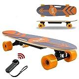 Devo Skateboard Électrique avec Télécommande, Longboard Électrique pour Adultes et Jeunes, Moteur 350 W, Planche Électrique Cruiser Complet 70 cm, Max. Vitesse : 20 km/h (Orange)