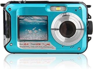 防水デジカメ 3m防水機能 水に浮く デジカメ デュアルスクリーンオートフォーカス 水中カメラ HD1080P 24.0MP デジタルカメラ 防水カメラ 日本語説明書付き