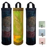 Jezomony soporte para bolsa de plástico 3 bolsa de basura de malla dispensadores de almacenamiento colgantes plegables organizador de soporte reciclaje bolsillo de supermercado 3 ganchos cocina