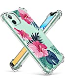 GVIEWIN iPhone 11 Case, Clear Flower Design Soft & Flexible TPU Ultra-Thin Shockproof Transparent Bumper Protective Floral Cover Case for iPhone 11 6.1 Inch 2019 (Silent Forest/Pink)