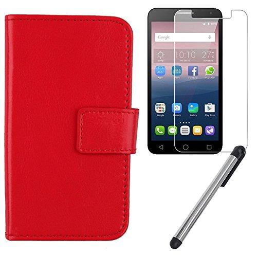 Gukas 3in1 Set Rot PU Leder Hülle Für Alcatel One Touch Pop 4 Plus 5.5