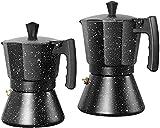 ZHZHUANG Café Espresso Moka Olla Grado de Aluminio de Aluminio Café Moka Olla Máquina de Café Filtro de Café Terreno Moka Olla,Negro,300Ml
