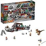 LEGO Jurassic World Caza del Velociraptor en Parque Jurásico, Juguete de Dinosaurio de...