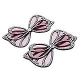 2X Toppe Strass con Perline Applique di Perline di Cristallo Bel Lavoro Bellissimo Fai-da-Te - Rosso
