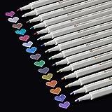Rotuladores metálicos de 15 colores, punta de 1 mm, con estuche, para tarjetas de boda, libro de visitas y álbum de fotos