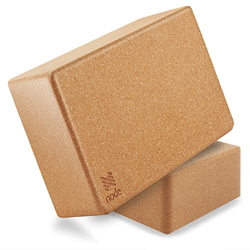 Node Fitness Premium Yoga Block (Set of 2) - 3 Inch Thick Cork Brick