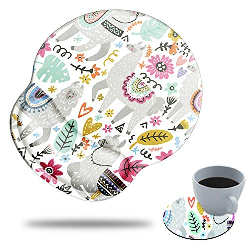 Gaming Mouse Pad with Wrist Support, Spsun Funny Alpaca Pattern Custom Design Cute Mousepad,Pain Relief Wrist Mouse Pads for Computer Laptop Home Office, with Coasters