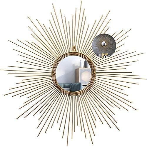 H-BEI Espejo de Pared Decorativo Que cuelga en Forma de Rayos de Sol, Pared Redonda de Rayos de Sol de Oro Cepillado, Estilo Moderno de Mediados de Siglo, Espejos de Pared Redondos para