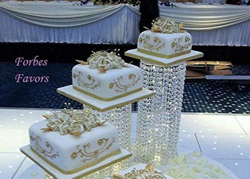 "Set of 3 Acrylic Crystal Chandelier Cake Stand/Centerpiece Chandelier Style With LED Lights for Wedding Cake, Anniversary or Special Occasion (6"", 6"" & 8"" Diameters)"