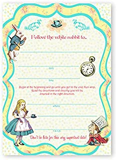 Alice In Wonderland LARGE Invitations - 10 Invitations + 10 Envelopes