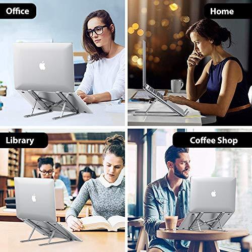Elekin Laptop Ständer, Faltbarer Tragbarer Aluminium Notebook Ständer, Verstellbare Universale Laptop Halterung für Computer, Kompatibel für iPad Pro, Notebook, 6-Fach höhenverstellbar - Silber